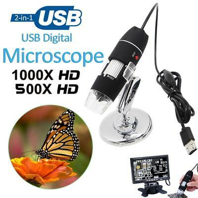 Portable 500x 1000x 2-in-1 USB Microscope Digital Electronic Detection Magnifier