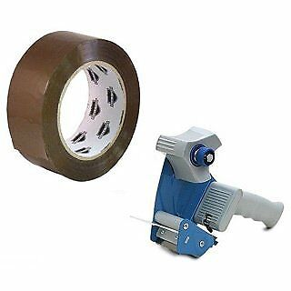 6 Rolls 2-inch x 110 Yardss Tan Packing Tapes 2.3 Mil with Free 2-inch Tape Gun