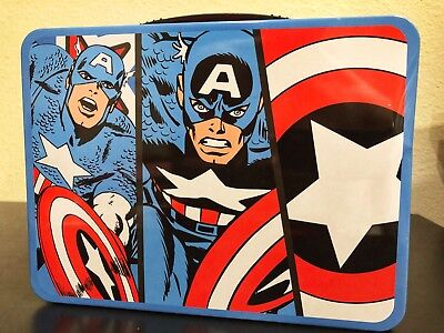 Captain America Tin Lunch Box Collectible Avengers Marvel Comics