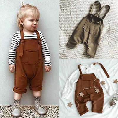 Newborn Infant Baby Girl Boy Solid Bib Pants Overalls Romper Outfits Clothes