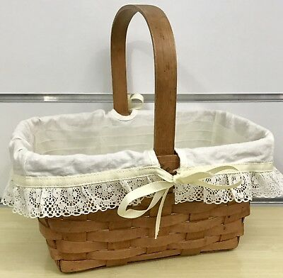 Longaberger Spring Basket with Cream Liner and Divided Protector 1988
