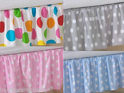 Nursery Cot valance/Valance sheet /Dust ruffle  to fit  Baby cot/cot bed /dots