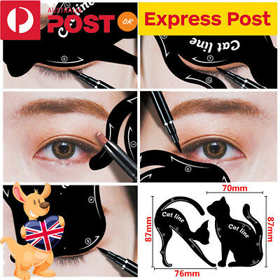 2PCS Cat Eye Line Eyeliner Stencil Eyes Liner Model Template Makeup Eyebrow Tool