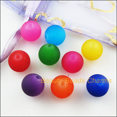 25Pcs Mixed Acrylic Plastic Round Smooth Loose Spacer Beads Charms 12mm