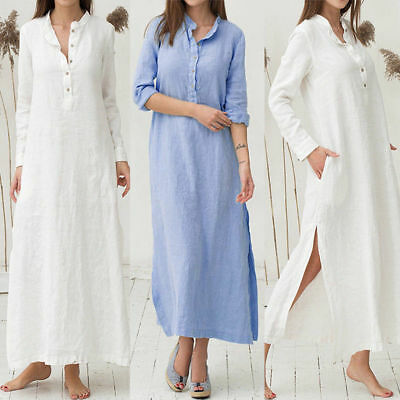 Women's Kaftan Cotton Long Sleeve Plain Casaul Oversized Maxi Long Shirt Dresses