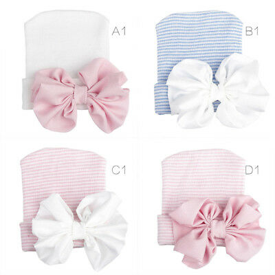 Baby Girls Infant Striped Safty health Soft Hat with Bow Cap Hospital Newborn FD
