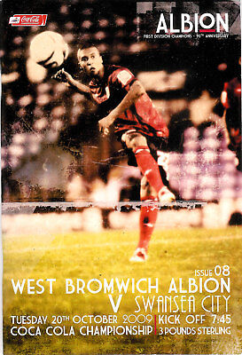 West Bromwich Albion v Swansea City 20 Oct 2009 FOOTBALL PROGRAMME