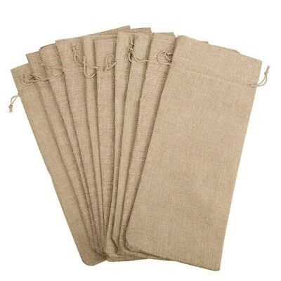 10pcs Jute Wine Bags, 14 x 6 1/4 inches Hessian Bottle Gift Bags with Drawstr2F8