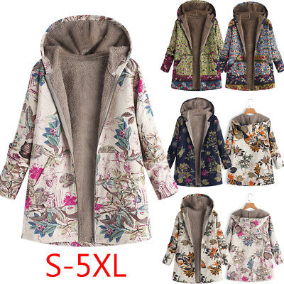 Womens Ladies Winter Warm Outerwear Floral Hooded Thick Vintage Oversize Coats