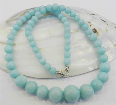 Beautiful 6-14mm Light Blue Brazilian Aquamarine Gems Round Beads Necklace 18""