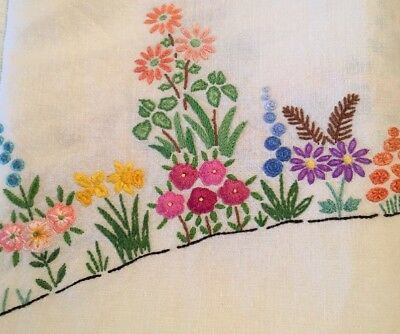 Exquisite Vintage Tablecloth Embroidered Colourful Flowers Cream Linen VGC 48""
