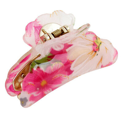 4X(Lady Girls Floral Plastic Gold Tone Hair Claw, Rose Red P7X5)