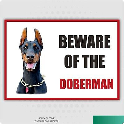 Funny Beware of the DOBERMAN Dog Vinyl Car Van Decal Sticker Pet Animal Lover