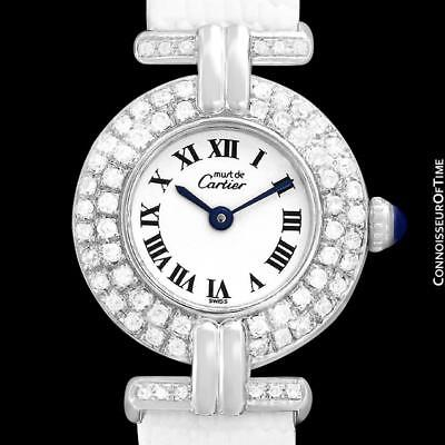 CARTIER COLISEE Ladies Vendome 18K White Gold Plated & Diamond - Mint - Warranty