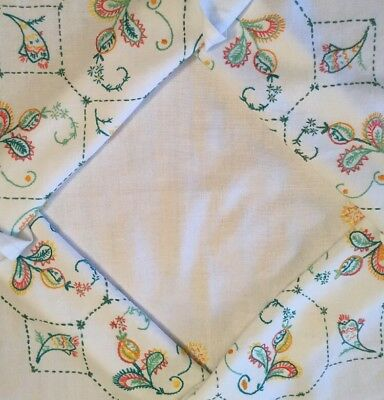 """Beautiful Vintage Tablecloth Colourful Embroidered Floral & Paisley 32"""" VGC"""