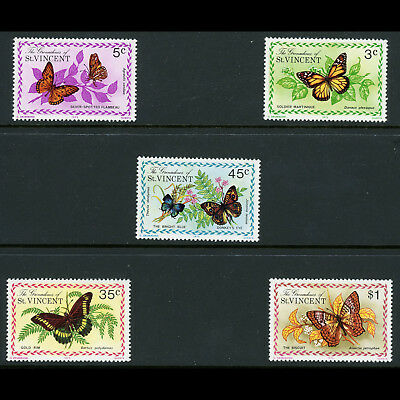GRENADINES of ST VINCENT 1975 Butterflies. SG 61-65. Lightly Hinged Mint (AR628)