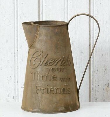 Farmhouse PITCHER CHERISH TIME WITH FRIENDS Primitive Metal Decor Vintage Style