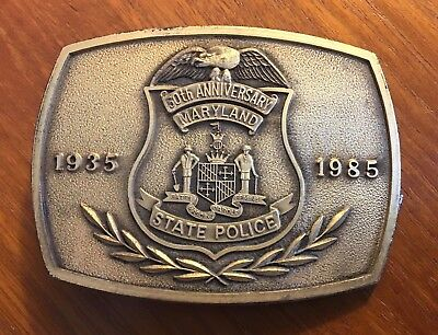 Vintage Maryland State Police 50th Anniversary Belt Buckle 1935-1985
