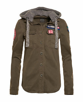 New Womens Superdry Unique Sample Washed Twill Military Shirt Size XS Bastian