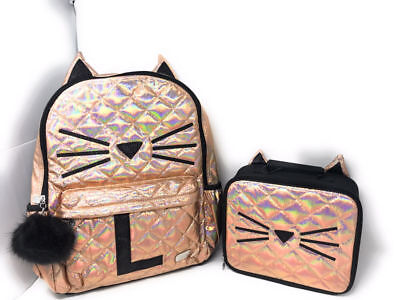 "Justice Quilted Cat Initial ""L"" Backpack and Lunch Box set of 2 NWT!"