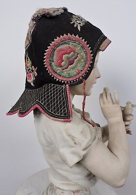 Antique 19Th C Hand Embroidered Chinese Child'S Hat W Florals