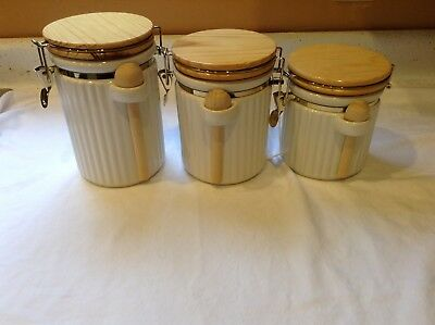 Vintage Cannisters Wood Top Spoons Ceramic Interior Set of 3