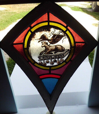 Antique Victorian Church Stained Glass Window Architectural Salvage 1872 Lamb