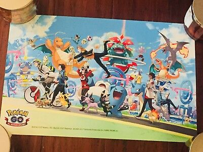 2017 1st Pokemon Go Fest POSTER Event FIRST ANNIVERSARY AUTHENTIC Chicago, IL