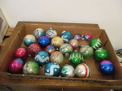 Lot of Vintage Christmas Balls  Flocked - Stenciled - Indents