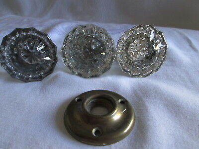 3 - Antique 12 & 13 point crystal glass brass door knobs, and 1 back plate,