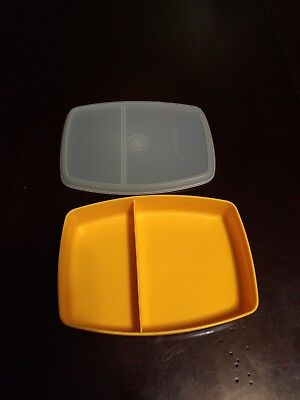 Tupperware divided packette lunch container 813 yellow base and clear 814 lid