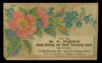 1880's Middletown,MD - M.F. Fink's Cheap Clothing House Advertising Trade Card