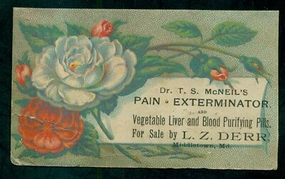 "1880's Middletown,MD-L.Z. Derr ""Dr. T.S. McNeil's Pain Exterminator"" Trade Card"