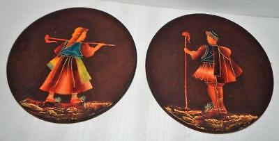 """Lot of 2 Vintage Hand Painted Red Clay Pottery Greek Style 8 1/2"""" Wall Plates"""