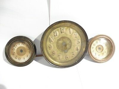 Found 3  Mixed Antique Brass  Ring,glass  & Clock Faces