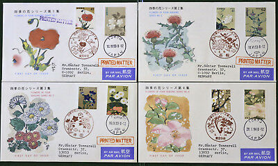 Japan Stamp, 1993-1994, First Day Cover, 4 various sheets, Flowers of four seaso