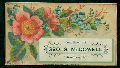 "1880's Leitersburg,MD - Geo. S. McDowell ""Victor Remedies"" Trade Card"