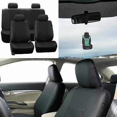 Car Seat Cover Faux Leather For Car SUV Solid Black w/ Free Air Freshener