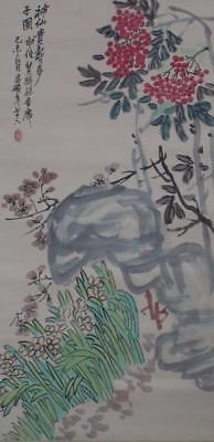 """Chinese Old Wu Changshuo Scroll Painting Flowers 82.68"""""""