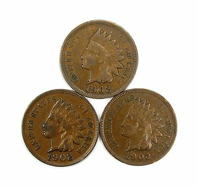 Lot of 3 1902 1c Indian Head Cent Penny XF Extra Fine /XF+ Full Liberty #137070*