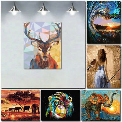 Unframed Animal Art Oil Painting Canvas Picture Home Wall Room Decor Kits BHX
