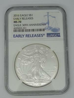 ***2016 1 Troy Oz Silver American Eagle $1 NGC MS70 Mint State 70***