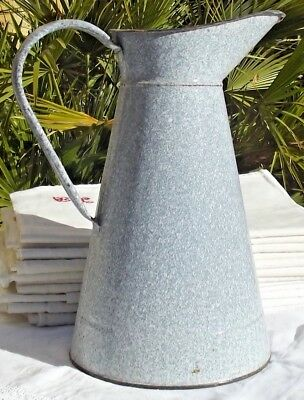 Antique French Enamel Jug Large Water Pitcher Dusty Blue Granitewear