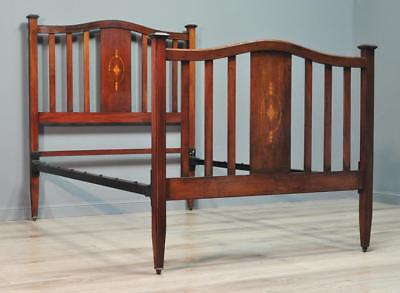 "Attractive Antique Edwardian Inlaid Mahogany Spar Back 48"" Bed Frame"