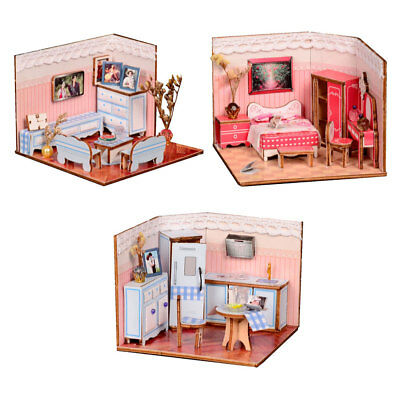 1/24 DIY Dolls House Kit 3D Wooden Miniature Crafts with Furniture - 3 Sets