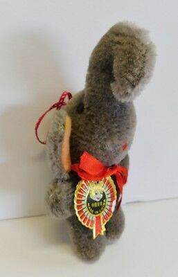 Vintage Chinese China Elephant Plush Stuffed Pure Wool  with Tags Trunk Up  RARE