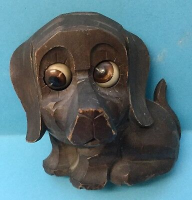 Antique Oswald Rotating Eyes Spring Driven Carved Black Forest Dog Clock With Ke