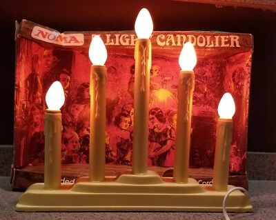Vintage Noma 5 Light Lite Candolier ~ Plug In Christmas Drip Candle ~ With Box