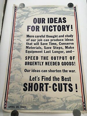 ORIGINAL 1943 Vintage WW2 US POSTER Ideas for Victory (i84)