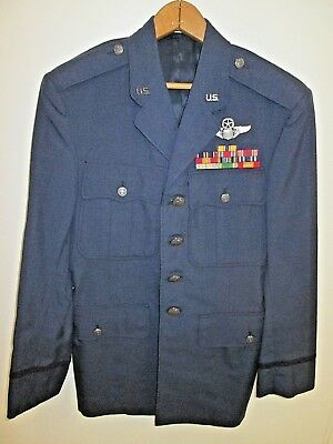 USAF Air Force Officer's Dress Blue Jacket Size 38R With Ribbons and Wings